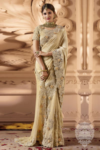 Bhelpuri Cream Silk and Net Zari Embroidered Party Wear Saree with Embroidered Blouse Piece
