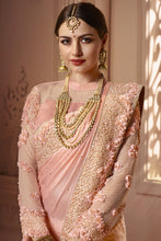Load image into Gallery viewer, Bhelpuri Baby PInk Satin Zari Embroidered Party Wear Saree with Embroidered Blouse Piece