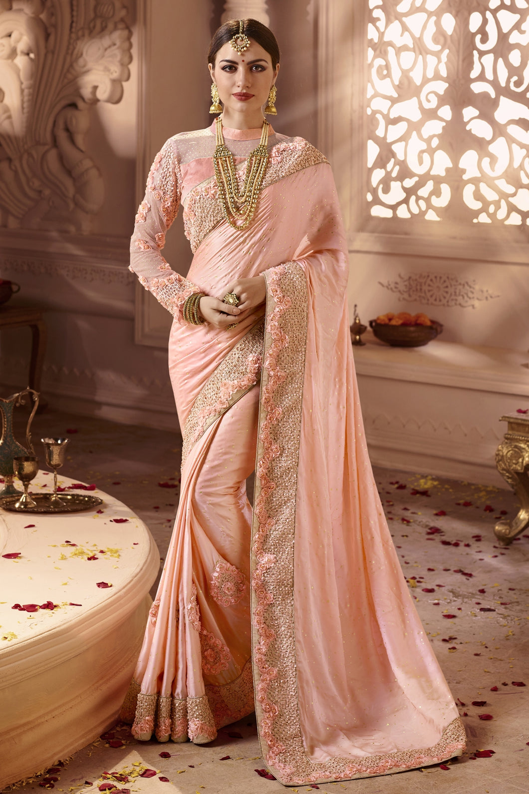 Bhelpuri Baby PInk Satin Zari Embroidered Party Wear Saree with Embroidered Blouse Piece