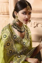 Load image into Gallery viewer, Bhelpuri Green Satin Zari Embroidered Party Wear Saree with Embroidered Blouse Piece