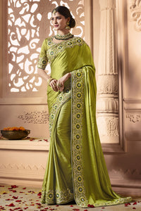 Bhelpuri Green Satin Zari Embroidered Party Wear Saree with Embroidered Blouse Piece