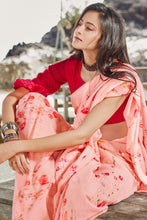 Load image into Gallery viewer, Bhelpuri Light Peach Soft Linen Printed Saree with Blouse Piece