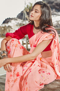 Bhelpuri Light Peach Soft Linen Printed Saree with Blouse Piece