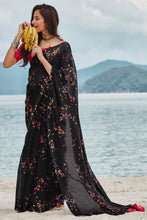 Load image into Gallery viewer, Bhelpuri Black Soft Linen Printed Saree with Blouse Piece