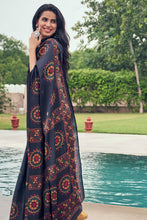 Load image into Gallery viewer, Bhelpuri Dark Slate Grey Tussar Silk Printed Saree with Blouse Piece