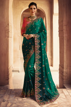 Load image into Gallery viewer, Bhelpuri Dark Green Raw Silk Zari Embroidered with Stone Work Designer Party Wear Saree with Embroidered Raw Silk Blouse Piece