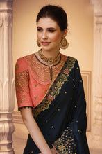 Load image into Gallery viewer, Bhelpuri Navy Blue Raw Silk Zari Embroidered with Stone Work Designer Party Wear Saree with Embroidered Raw Silk Blouse Piece