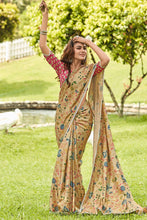 Load image into Gallery viewer, Bhelpuri Dark Beige Manipuri Silk Printed Saree with Blouse Piece