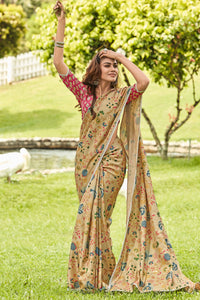 Bhelpuri Dark Beige Manipuri Silk Printed Saree with Blouse Piece