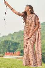 Load image into Gallery viewer, Bhelpuri Dusty Peach Manipuri Silk Printed Saree with Blouse Piece