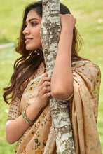 Load image into Gallery viewer, Bhelpuri Dark Beige Manipuri Silk Printed Saree with Blouse Piecea