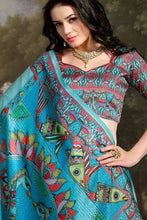 Load image into Gallery viewer, Bhelpuri Aqua Madhu Silk Woven Saree with Blouse Piece