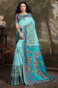 Bhelpuri Aqua Madhu Silk Woven Saree with Blouse Piece