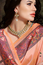 Load image into Gallery viewer, Bhelpuri Peach Madhu Silk Woven Saree with Blouse Piece