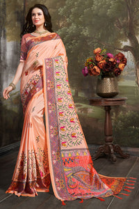 Bhelpuri Peach Madhu Silk Woven Saree with Blouse Piece
