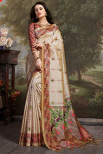 Load image into Gallery viewer, Bhelpuri Beige Madhu Silk Woven Saree with Blouse Piece