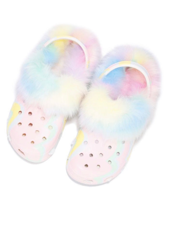 Pastel Cotton Candy Fuzzy Clog Sandals Slippers