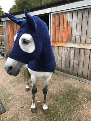 Navy fleece horse hood