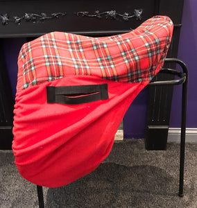 Red with tartan seat saver saddle cover