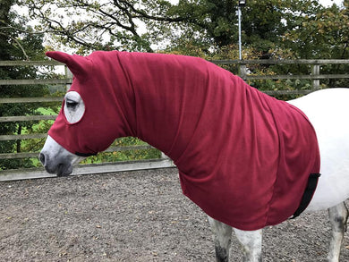 Burgundy fleece horse hood