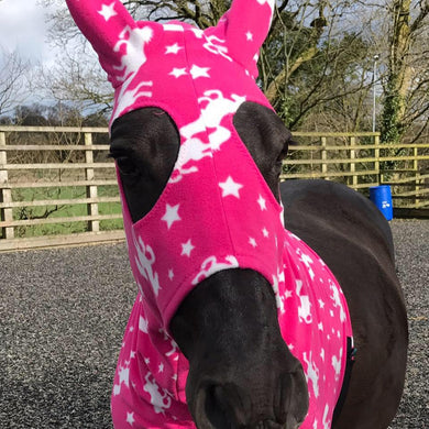 Pink unicorn fleece horse hood