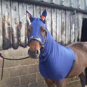Navy lycra hood with fleece ears and nose band