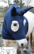 Load image into Gallery viewer, Blue quilted horse hood