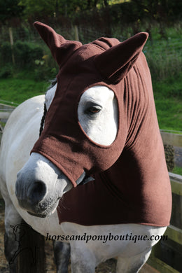 Brown fleece horse hood