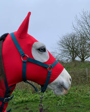 Load image into Gallery viewer, Red lycra horse hood