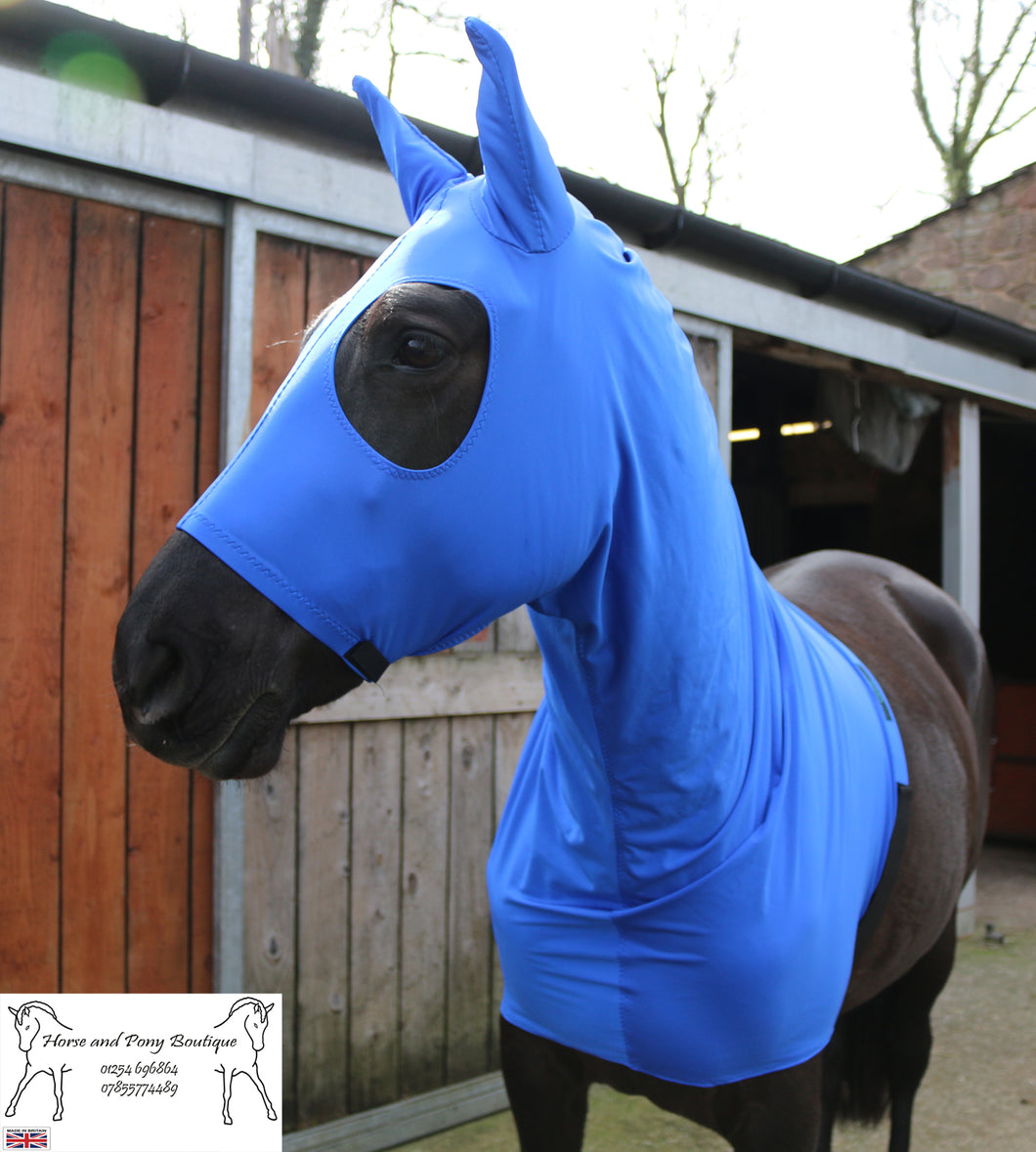 Royal blue lycra horse hood