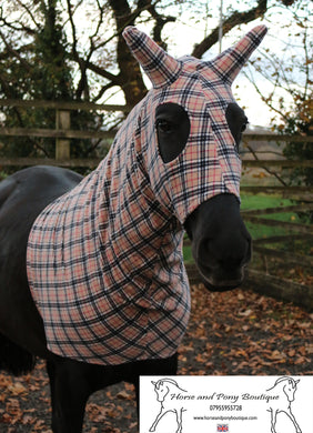 Tan tweed fleece horse hood