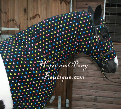 Black multicoloured spots  fleece horse hood