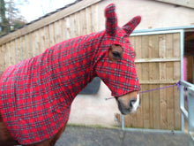 Load image into Gallery viewer, Red tartan fleece horse hood