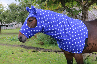 Royal blue white stars fleece horse hood