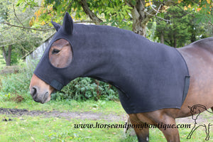 Black fleece horse hood