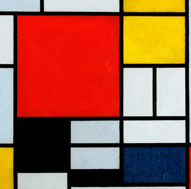 """Composition with Large Red Plane, Yellow, Black, Gray and Blue"" Napkin"