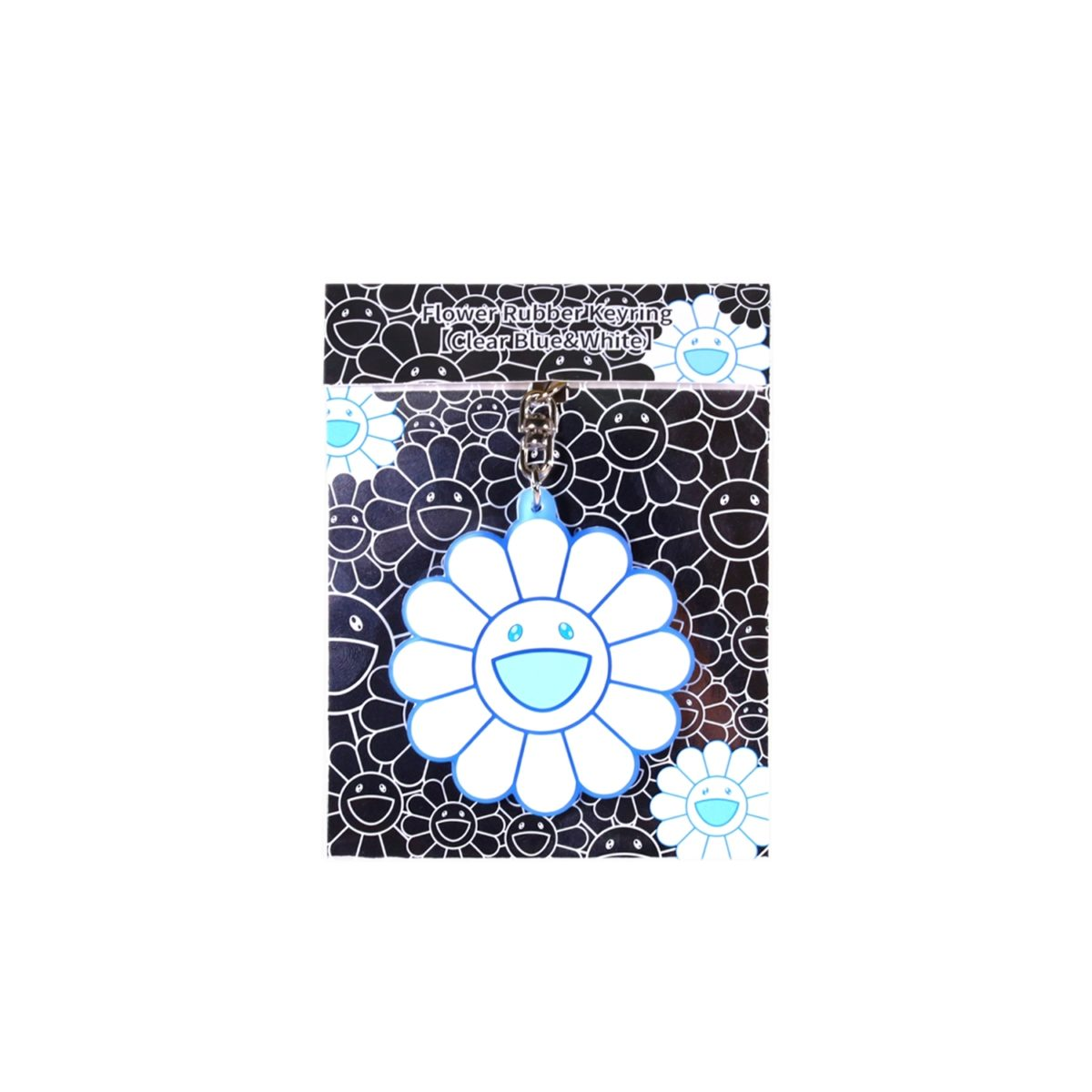 Flower Rubber Keyring (Clear Blue and White)