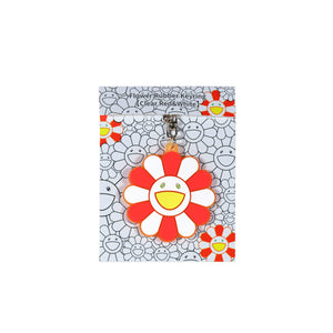 Flower Rubber Keyring (Clear Red and White)