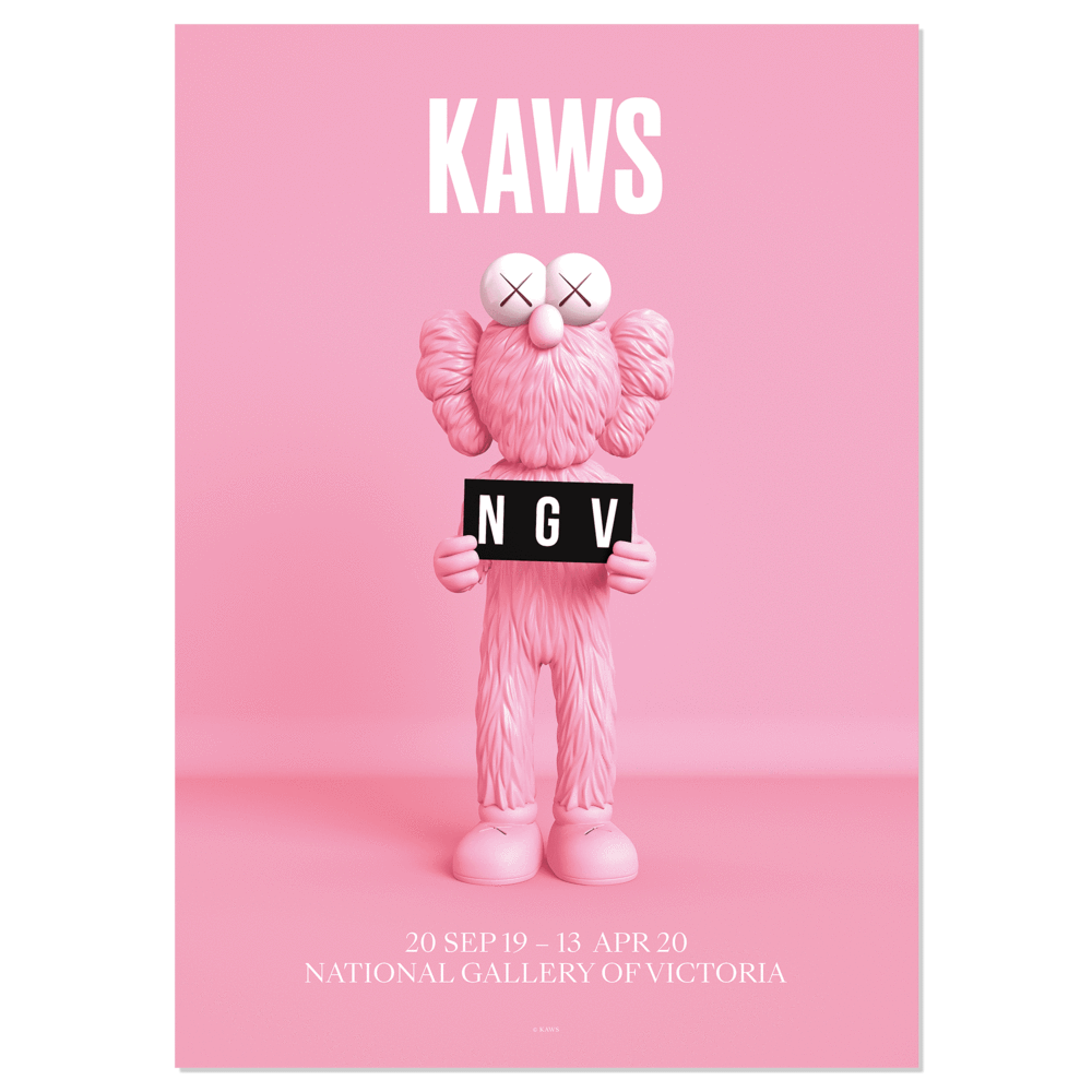 KAWS x NGV BFF Framed Poster (Pink, Blue), 2019