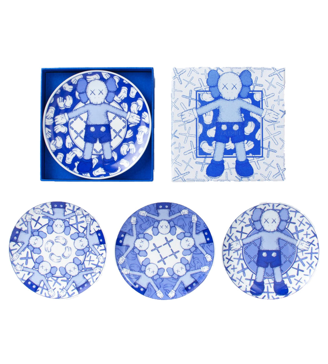 KAWS: HOLIDAY ceramic plate set (blue/white) (set of 4), 2019