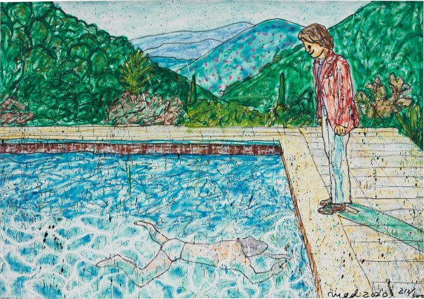 Portrait of An Artist (Pool with Two Figures) II (inspired by David Hockney)_P (Framed), 2020