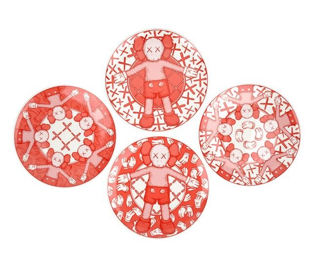 KAWS x Doha Fire Station Ceramic Plates (Set of 4), 2019