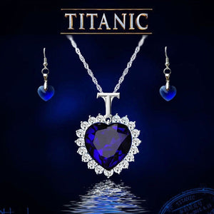 Heart of the Ocean Australisches Kristall Ketten und Ohrring Damen Schmuck Set