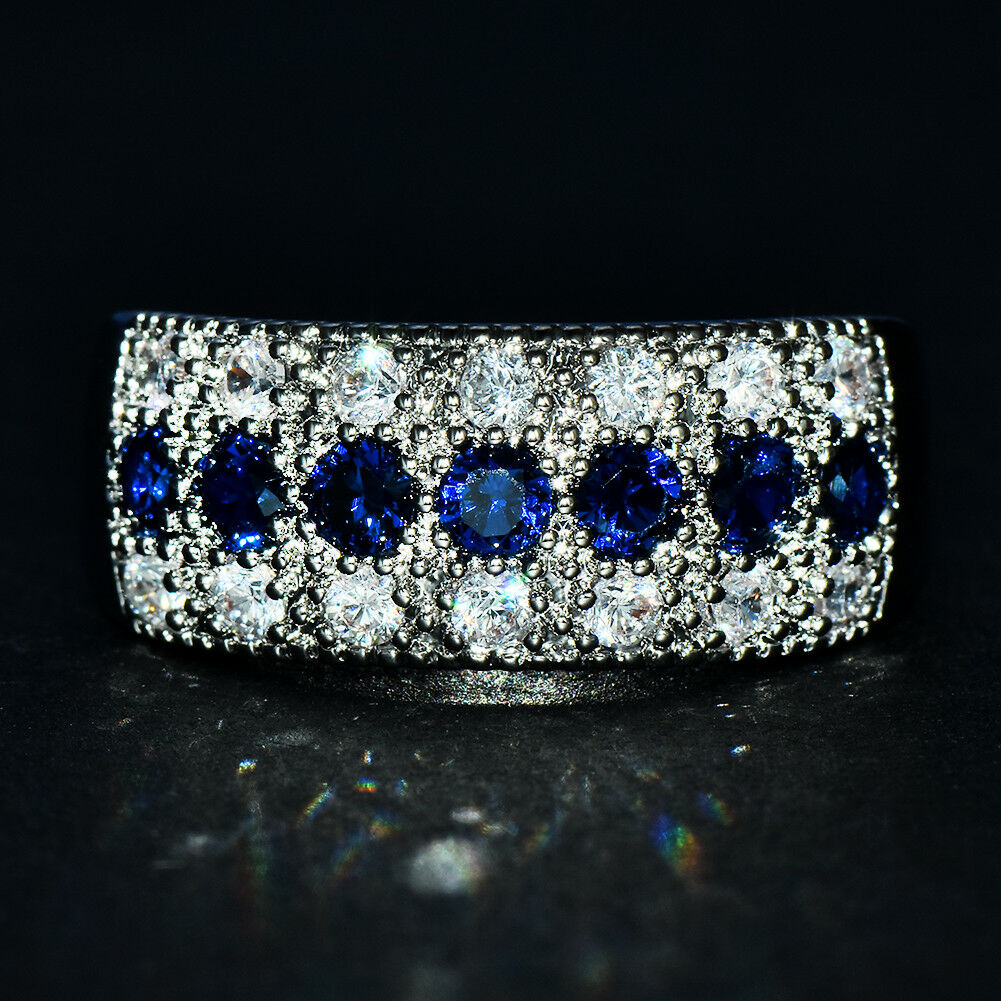 925 Sterling Silver Woman Blue Sapphire Ring