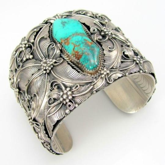 Silver Turquoise Bangle Cuff Wide Bracelet