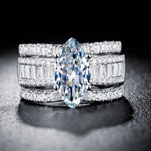 Load image into Gallery viewer, Zauberhafter 925 Sterling Silber Marquise Schliff Saphire Damen Ring