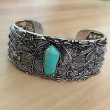 Load image into Gallery viewer, Silver Turquoise Bangle Cuff Wide Bracelet