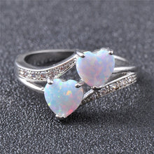 Load image into Gallery viewer, 925 Sterling Silver Double Heart White Blue Fire Opal CZ Gemstone Ring