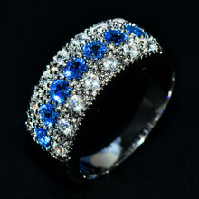 Load image into Gallery viewer, 925 Sterling Silver Woman Blue Sapphire Ring