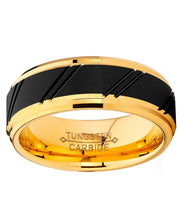 Load image into Gallery viewer, 8mm Duo Tungsten Carbide Black and Gold Tone Ring Comfort Fit